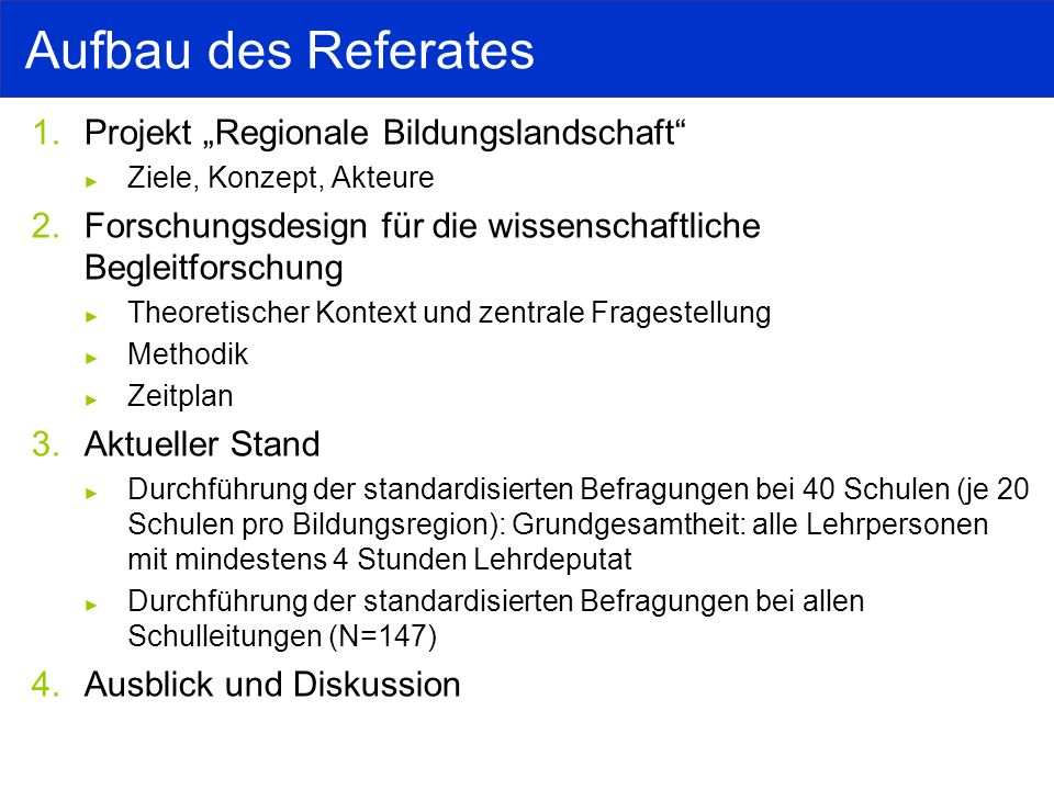 "Aufbau des Referates Projekt ""Regionale Bildungslandschaft"