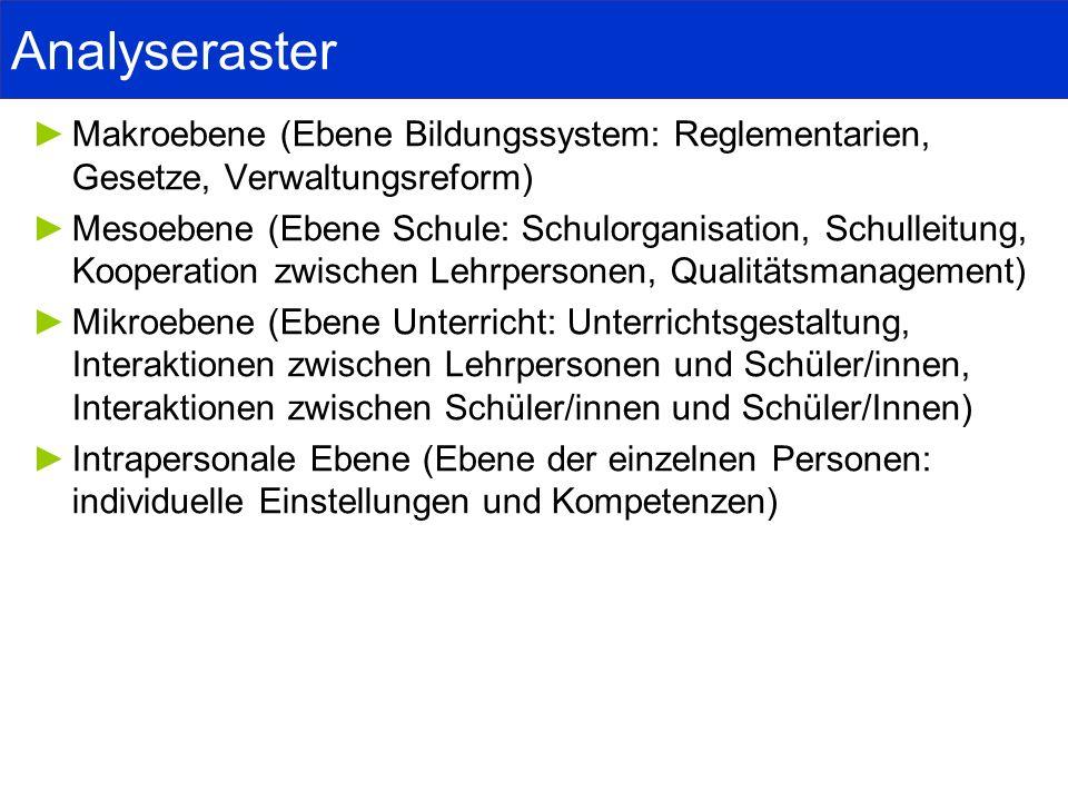 Analyseraster Makroebene (Ebene Bildungssystem: Reglementarien, Gesetze, Verwaltungsreform)