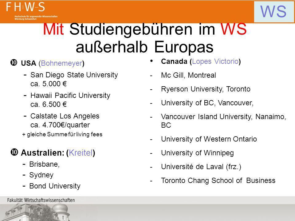 Mit Studiengebühren im WS außerhalb Europas