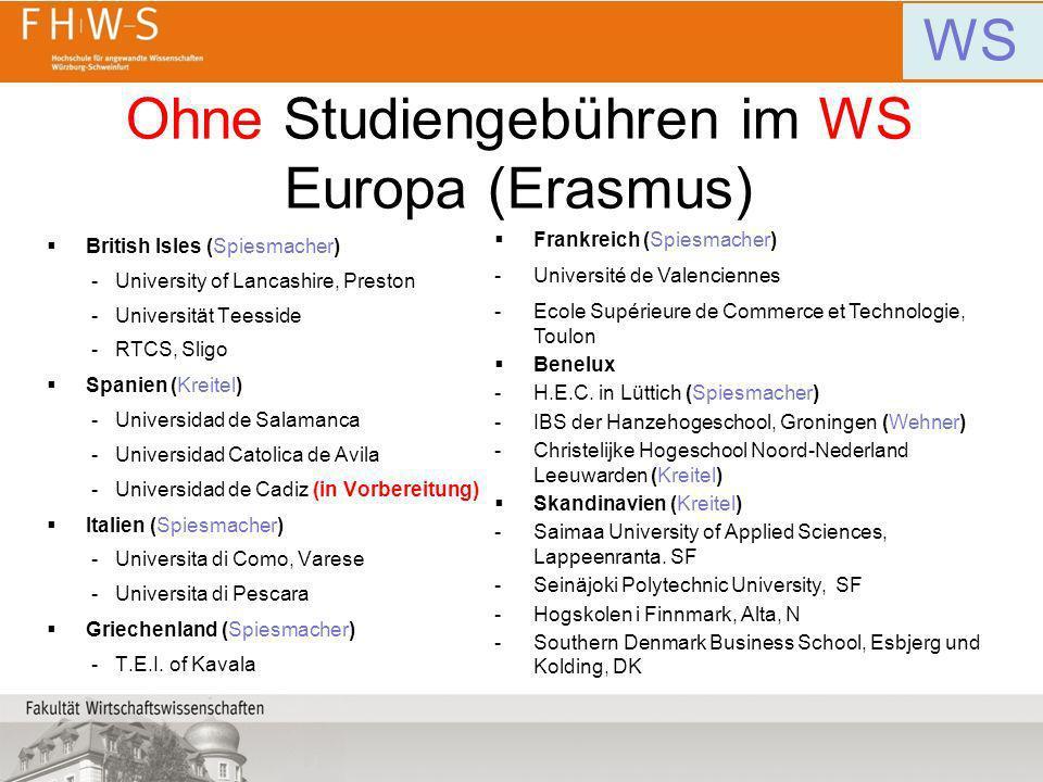 Ohne Studiengebühren im WS Europa (Erasmus)
