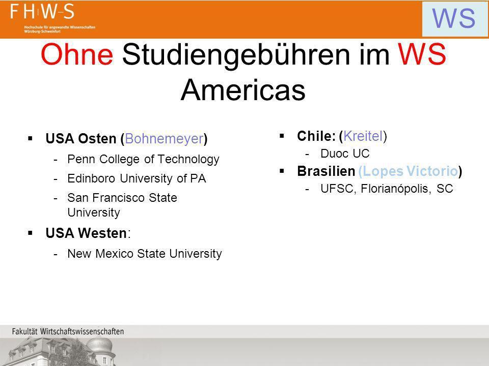 Ohne Studiengebühren im WS Americas