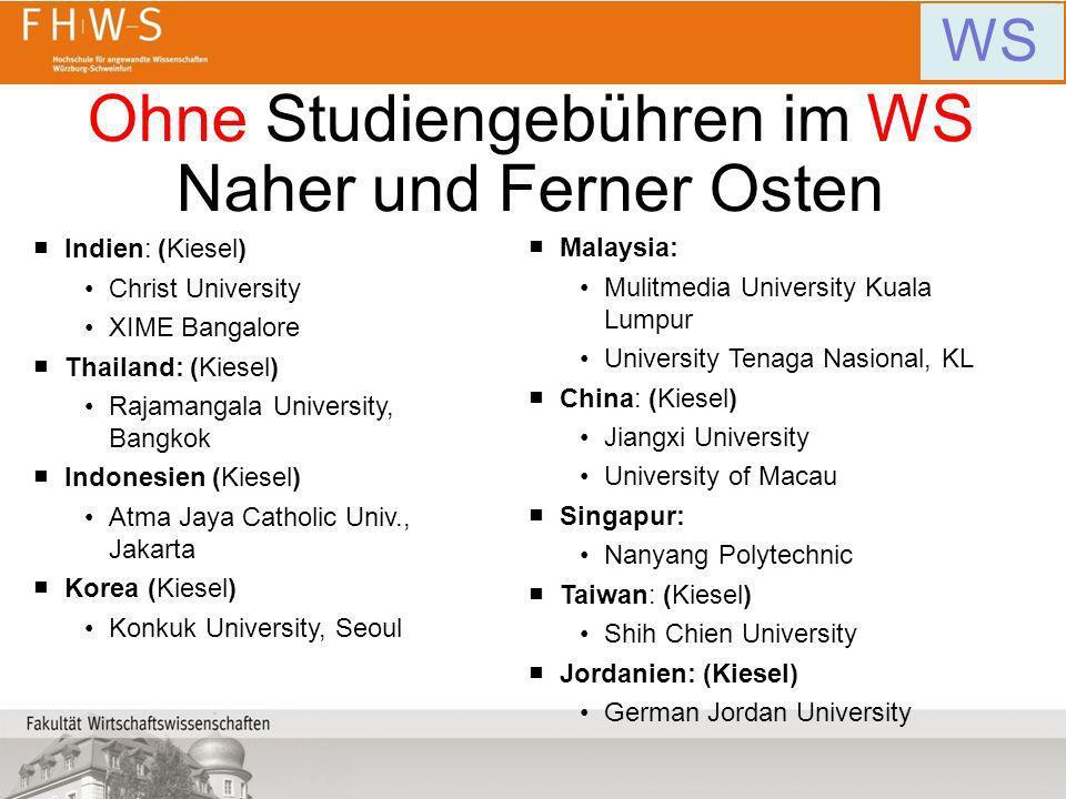 Ohne Studiengebühren im WS Naher und Ferner Osten