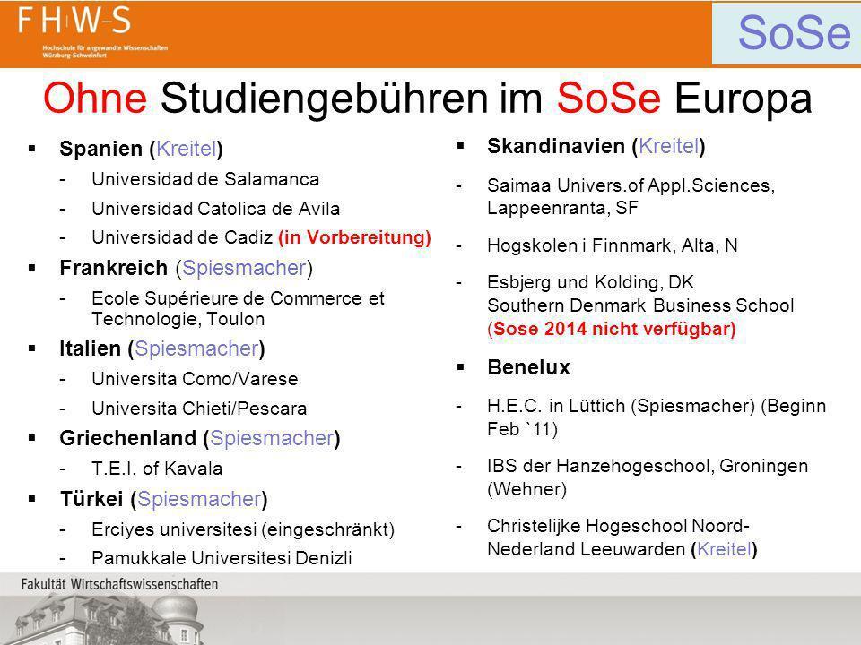 Ohne Studiengebühren im SoSe Europa