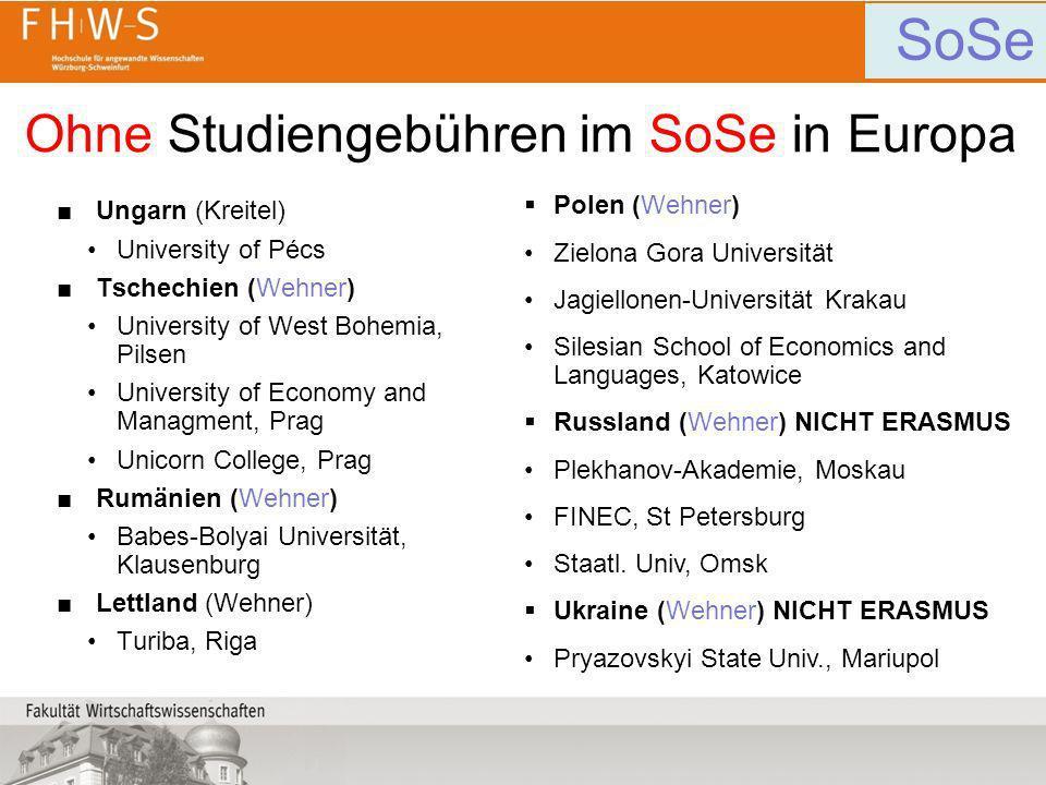 Ohne Studiengebühren im SoSe in Europa