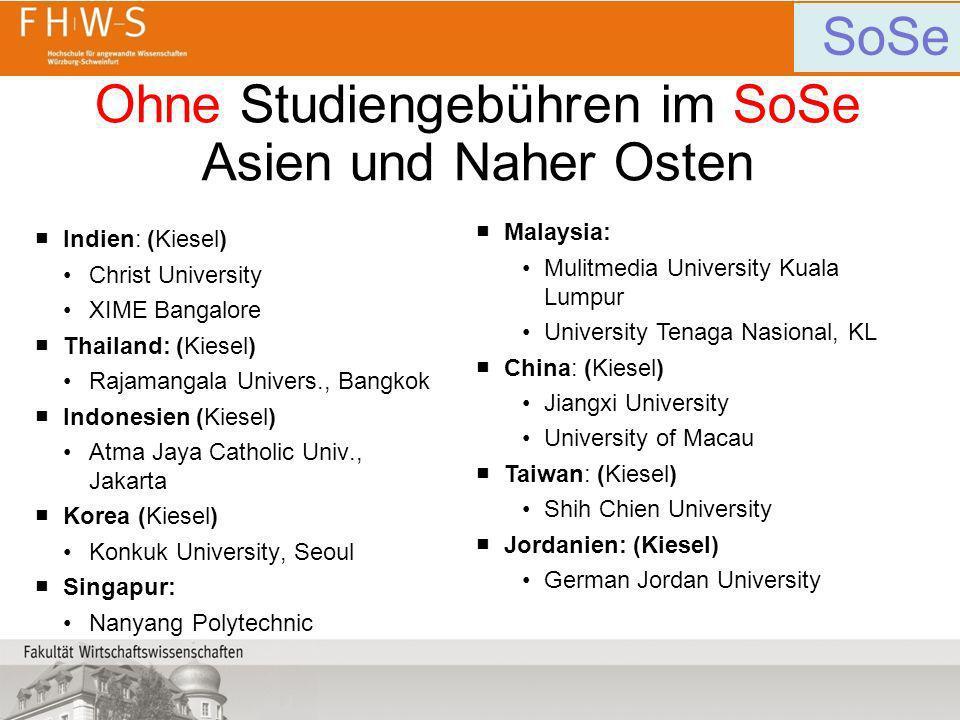 Ohne Studiengebühren im SoSe Asien und Naher Osten