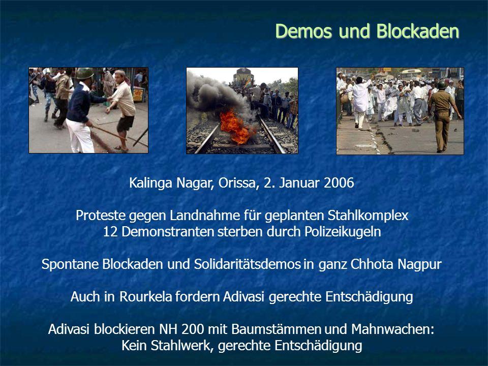 Demos und Blockaden Kalinga Nagar, Orissa, 2. Januar 2006