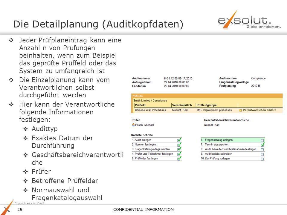 Die Detailplanung (Auditkopfdaten)