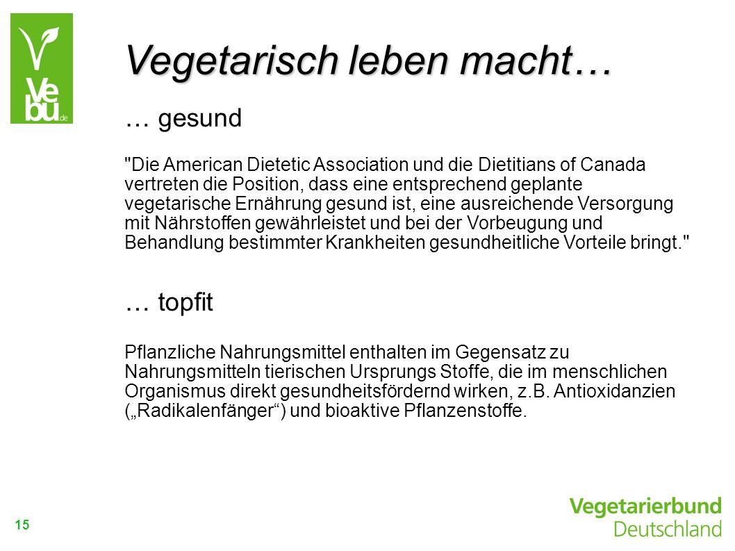 Vegetarisch leben macht…