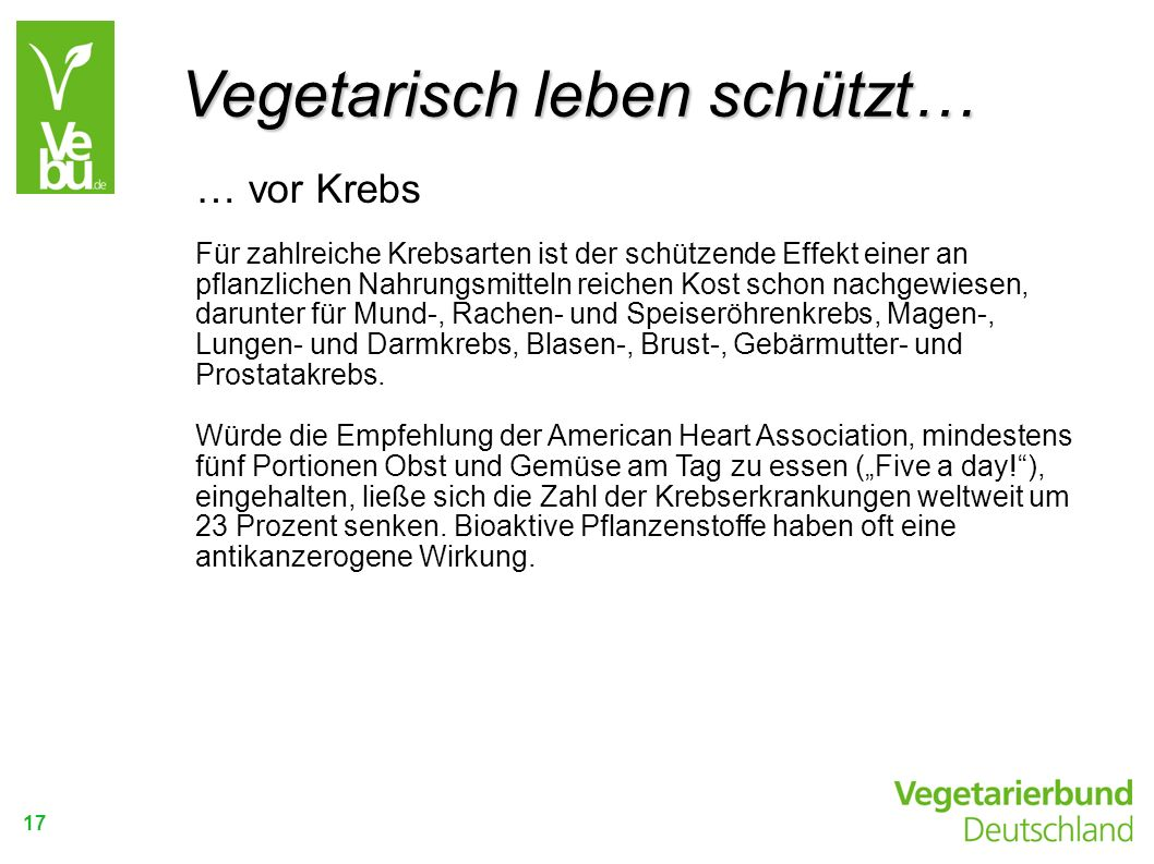 Vegetarisch leben schützt…