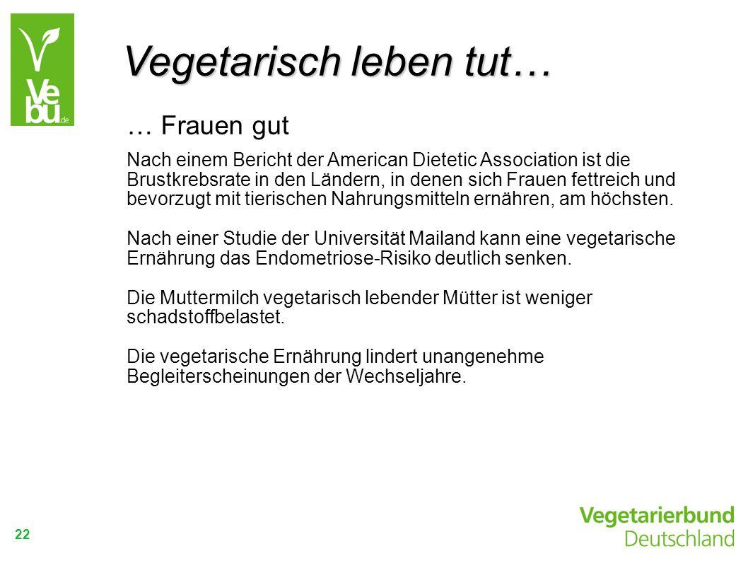 Vegetarisch leben tut…