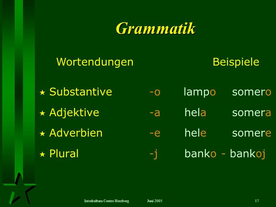 Grammatik Wortendungen Beispiele Substantive -o lampo somero