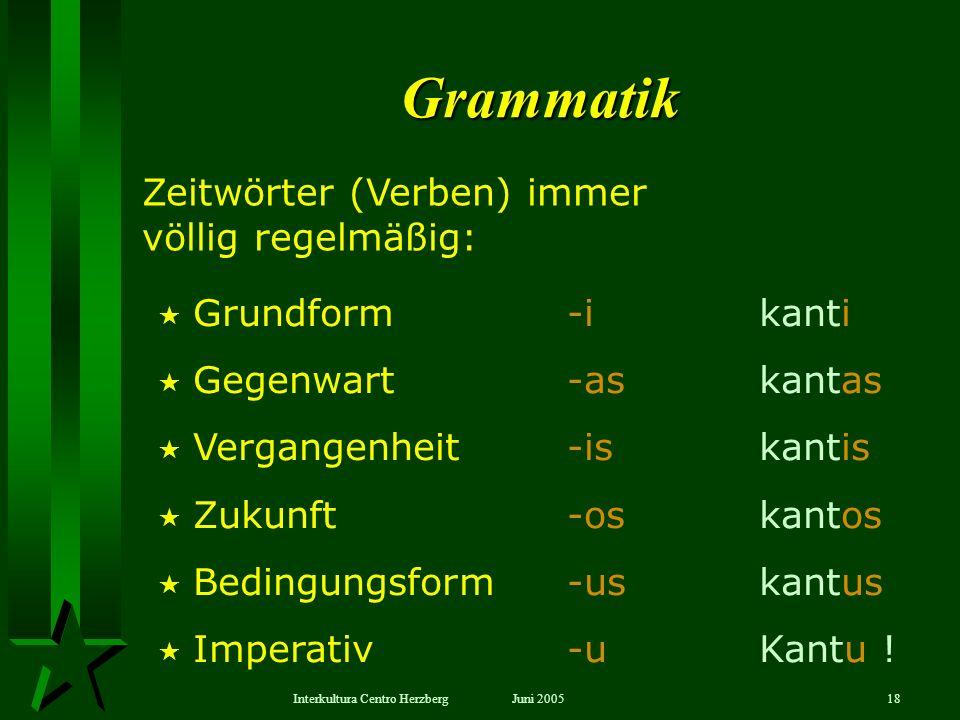 Grammatik Zeitwörter (Verben) immer völlig regelmäßig:
