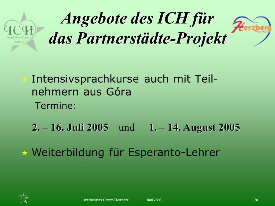 Angebote des ICH für das Partnerstädte-Projekt