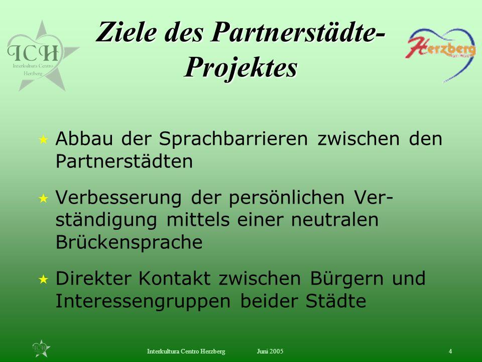 Ziele des Partnerstädte- Projektes