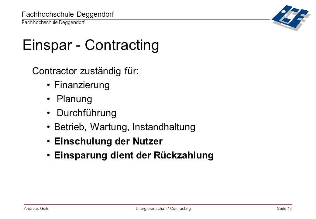 Einspar - Contracting Contractor zuständig für: Finanzierung Planung