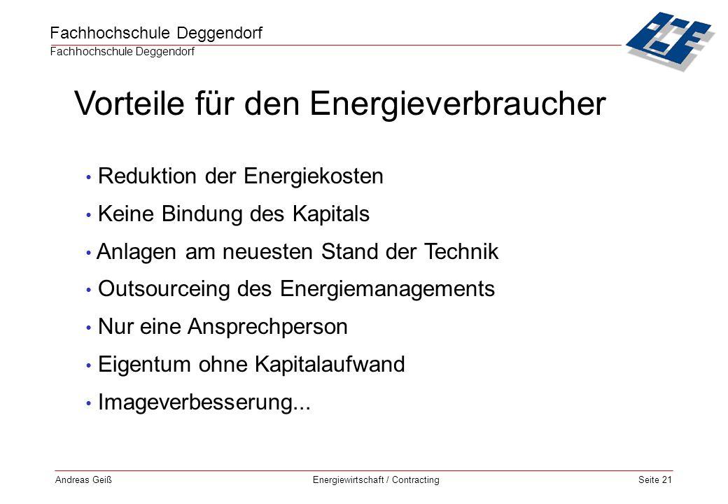 Vorteile für den Energieverbraucher