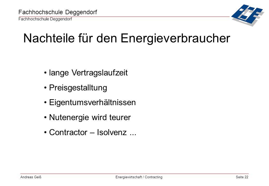 Nachteile für den Energieverbraucher