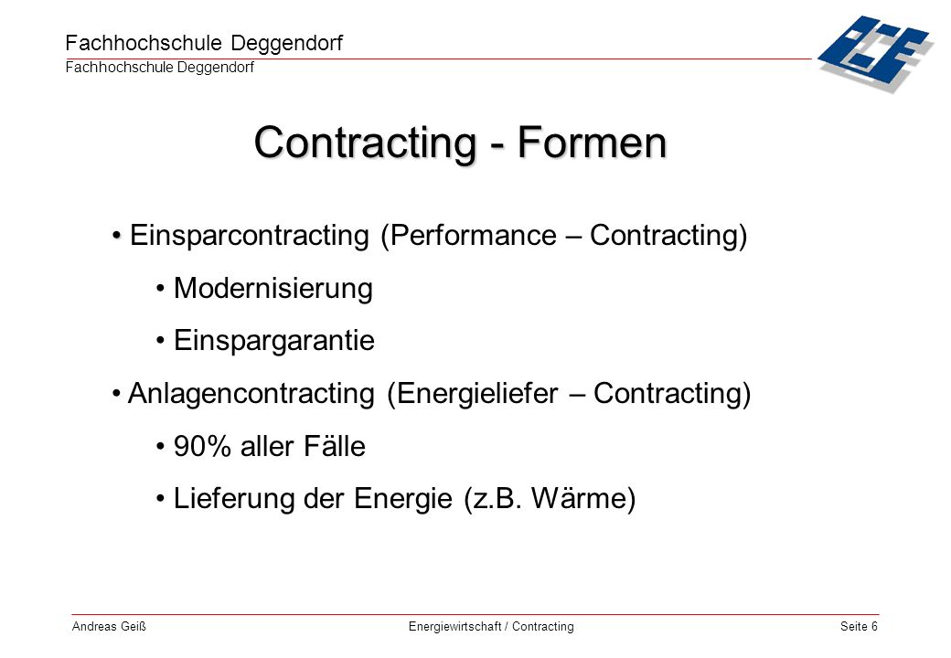 Contracting - Formen Einsparcontracting (Performance – Contracting)
