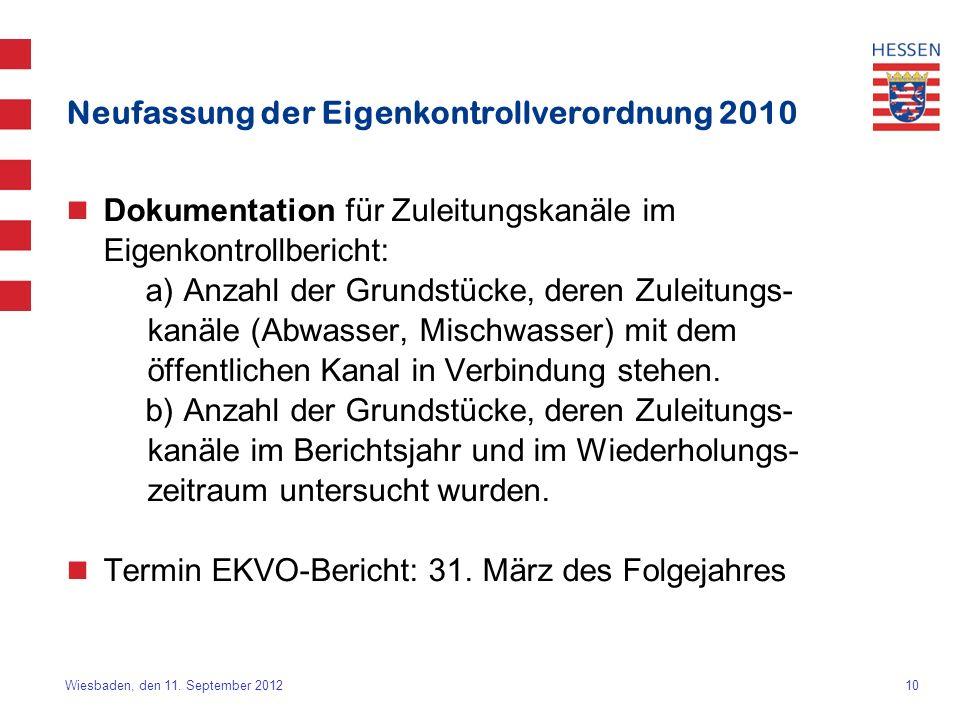 Neufassung der Eigenkontrollverordnung 2010