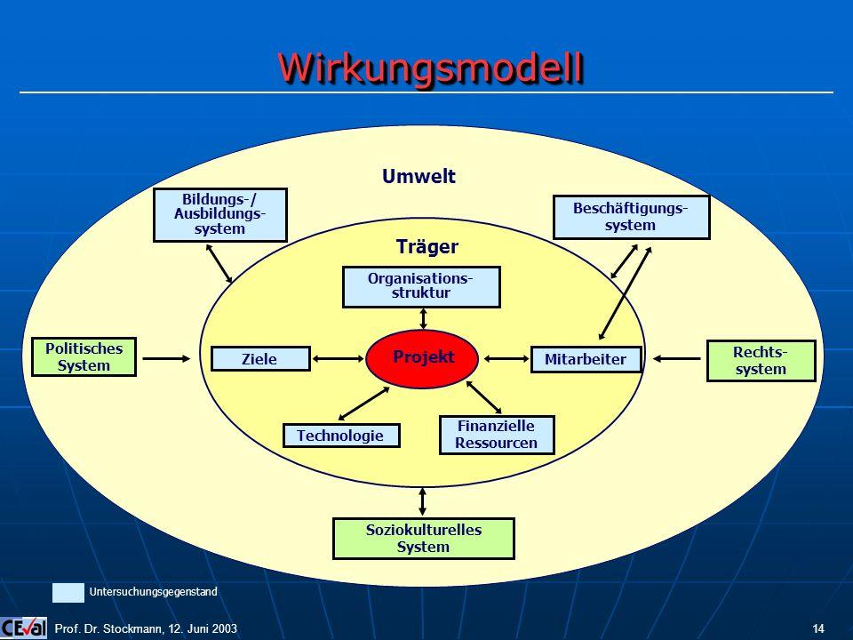 Wirkungsmodell Umwelt Träger Projekt Bildungs-/ Ausbildungs- system