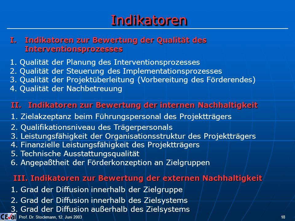 Indikatoren Indikatoren zur Bewertung der Qualität des Interventionsprozesses. 1. Qualität der Planung des Interventionsprozesses.