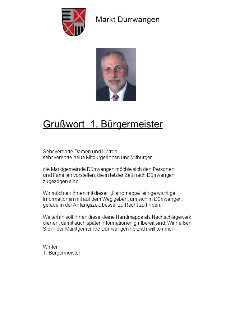 Grußwort 1. Bürgermeister