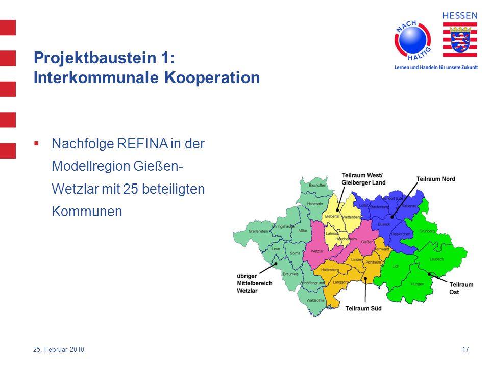 Projektbaustein 1: Interkommunale Kooperation