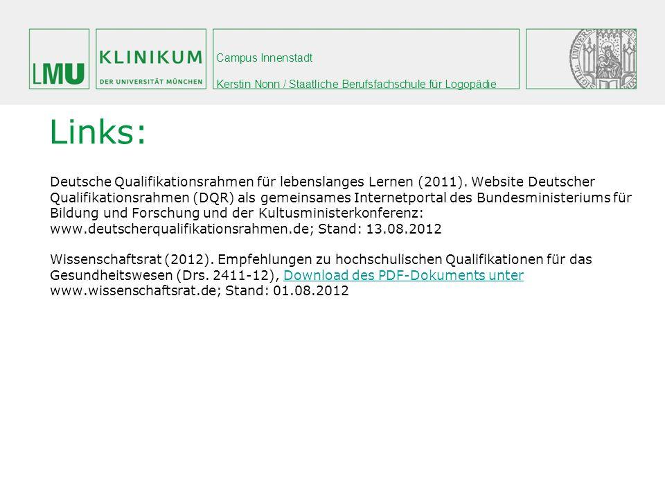 Links: Deutsche Qualifikationsrahmen für lebenslanges Lernen (2011). Website Deutscher.