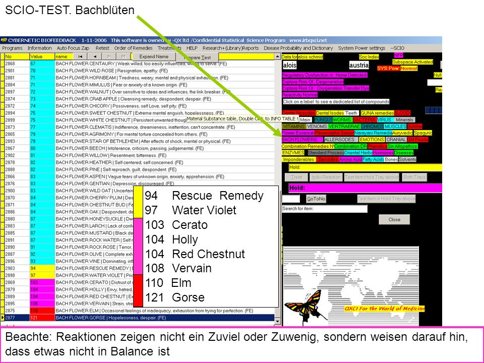 SCIO-TEST. Bachblüten Vitalcoaching SCIO- Testergebnis: Emotionen. 94 Rescue Remedy. 97 Water Violet.