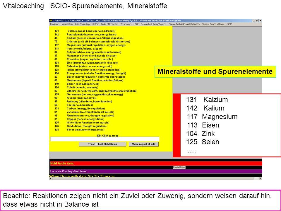 Vitalcoaching SCIO- Spurenelemente, Mineralstoffe