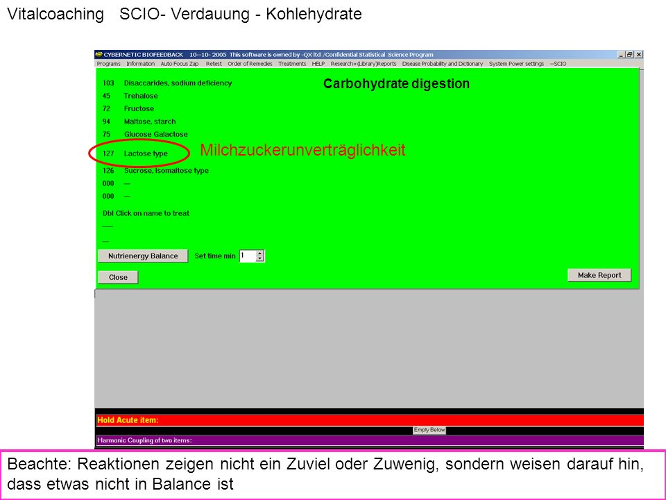 Vitalcoaching SCIO- Verdauung - Kohlehydrate