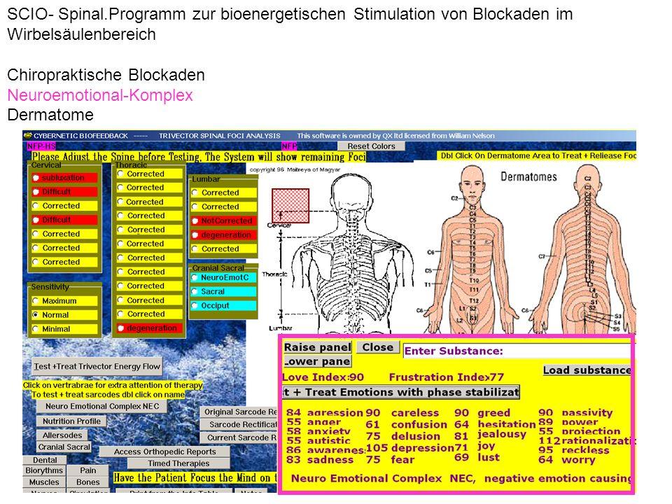 SCIO- Spinal.Programm zur bioenergetischen Stimulation von Blockaden im Wirbelsäulenbereich
