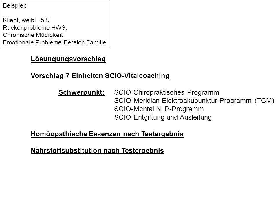 Vorschlag 7 Einheiten SCIO-Vitalcoaching