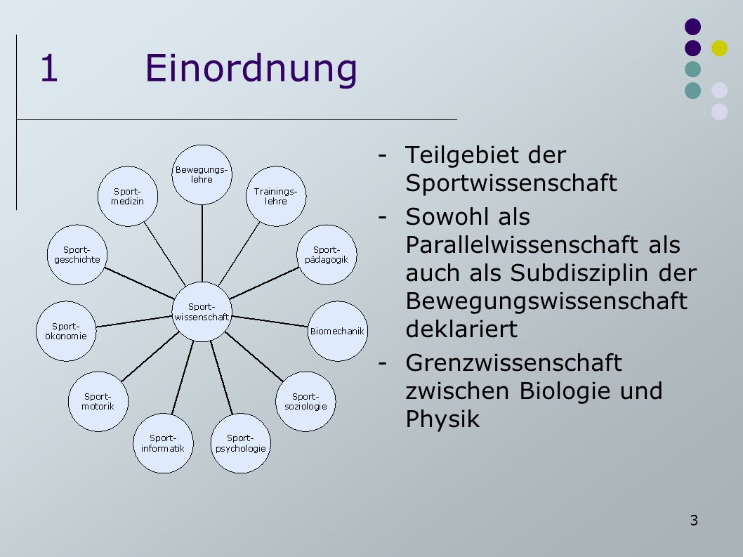 1 Einordnung Teilgebiet der Sportwissenschaft