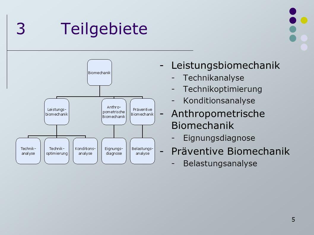 3 Teilgebiete Leistungsbiomechanik Anthropometrische Biomechanik