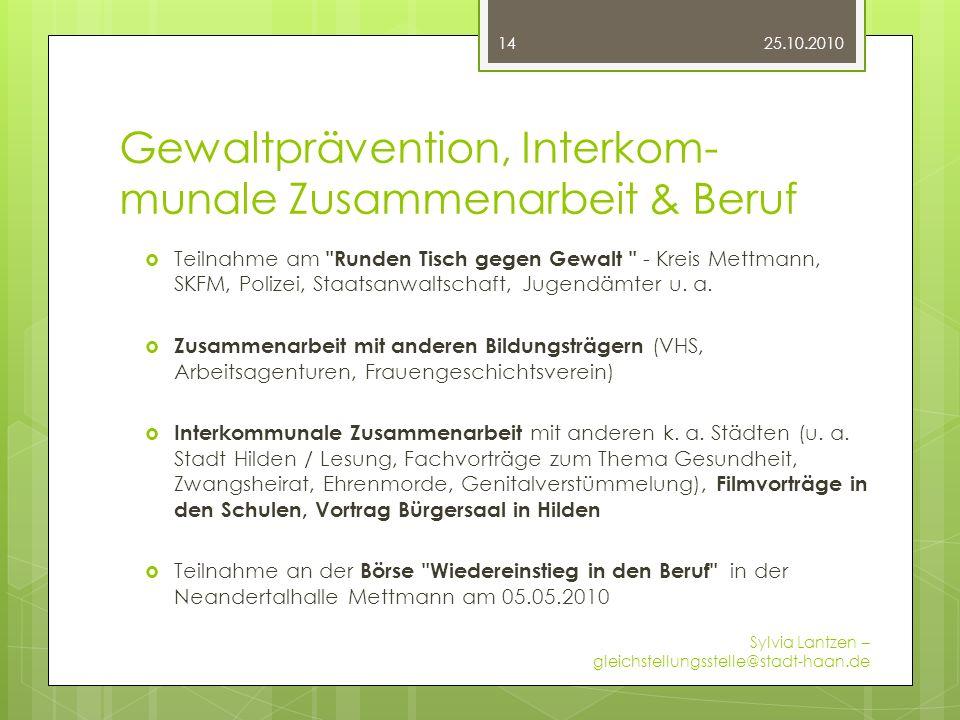 Gewaltprävention, Interkom- munale Zusammenarbeit & Beruf