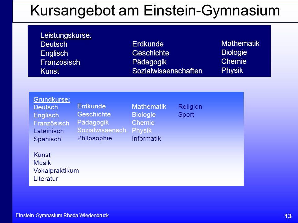 Kursangebot am Einstein-Gymnasium