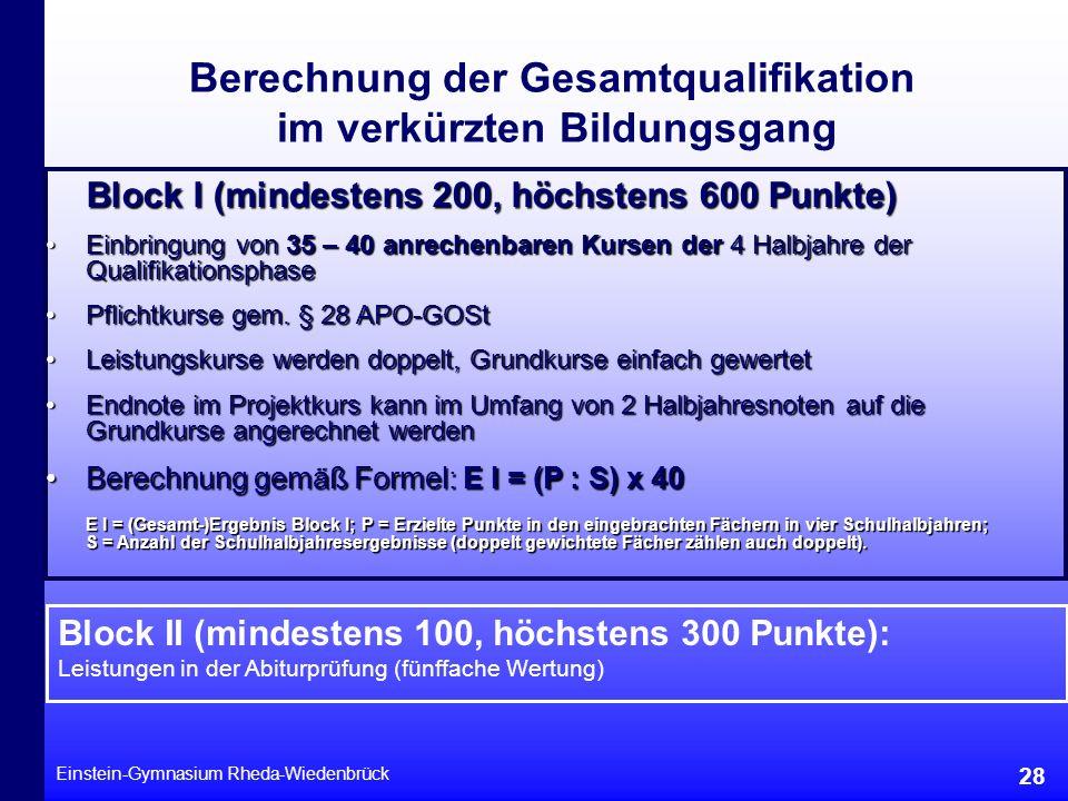 Berechnung der Gesamtqualifikation im verkürzten Bildungsgang