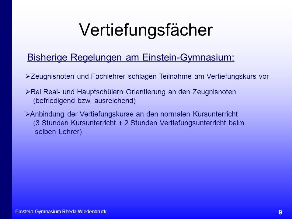 Vertiefungsfächer Bisherige Regelungen am Einstein-Gymnasium: