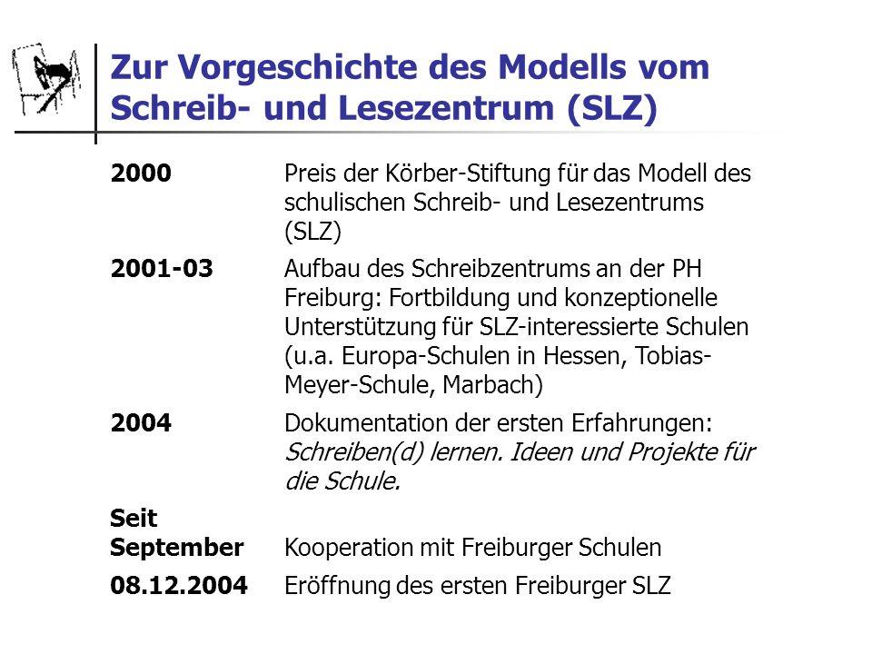Zur Vorgeschichte des Modells vom Schreib- und Lesezentrum (SLZ)