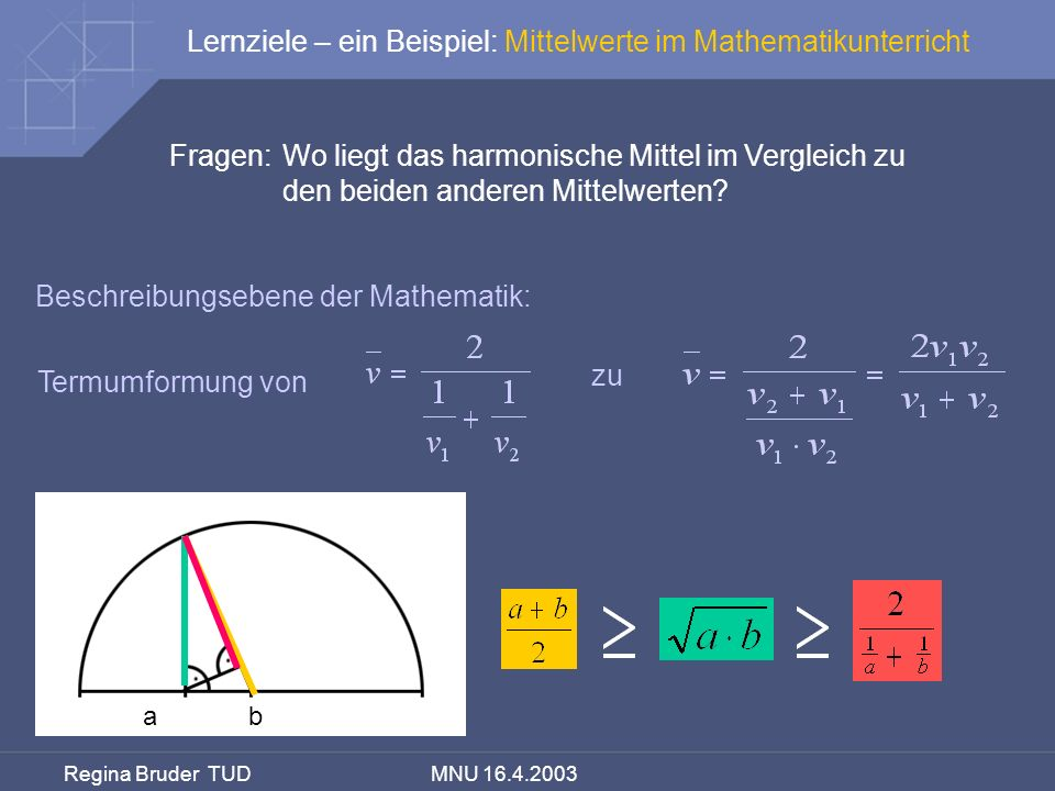 Lernziele – ein Beispiel: Mittelwerte im Mathematikunterricht