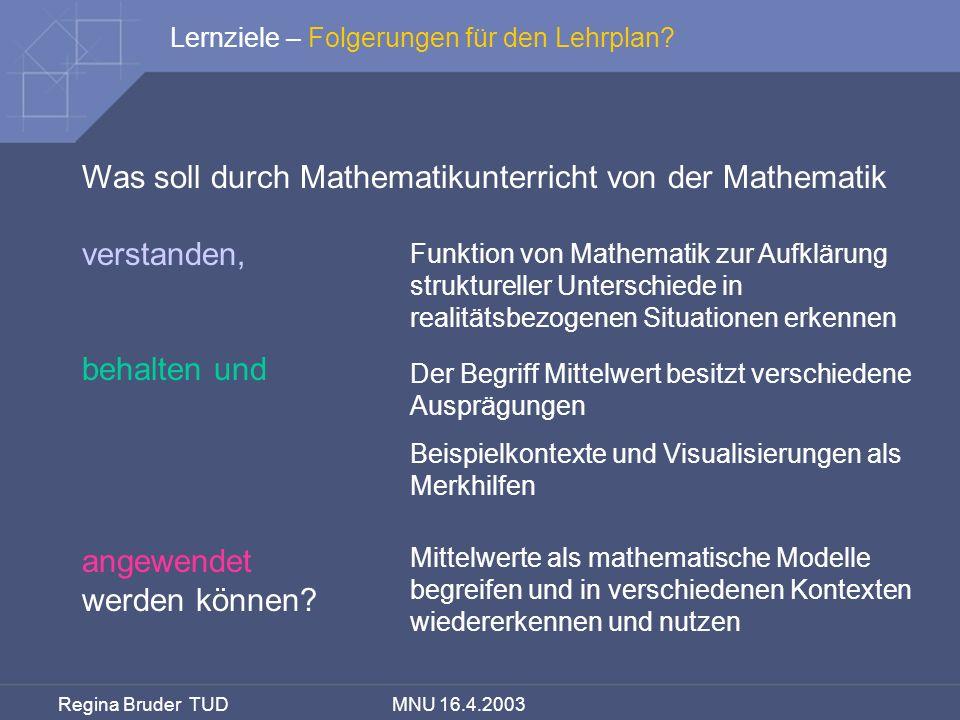 Was soll durch Mathematikunterricht von der Mathematik verstanden,