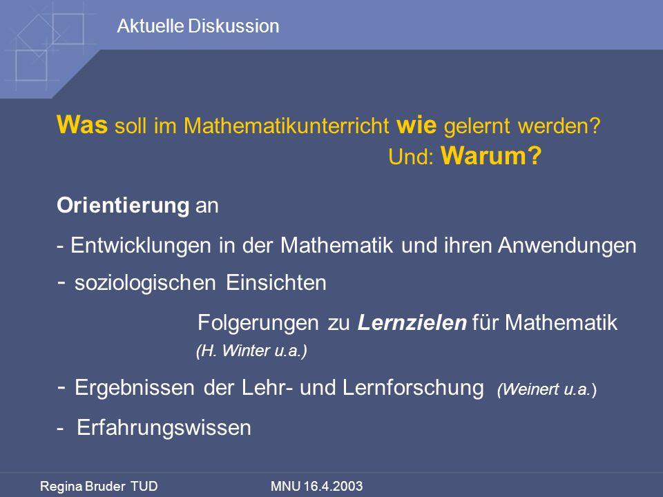 Was soll im Mathematikunterricht wie gelernt werden
