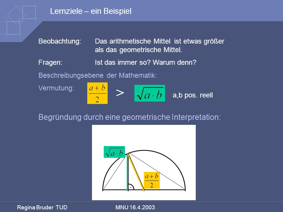 > a,b pos. reell Lernziele – ein Beispiel