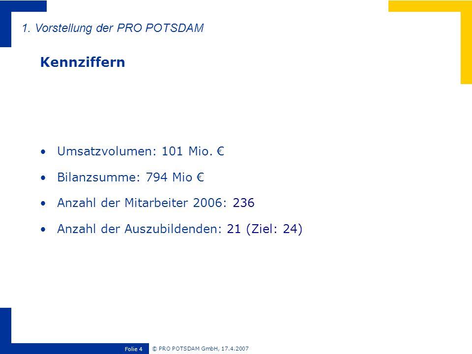 Kennziffern 1. Vorstellung der PRO POTSDAM Umsatzvolumen: 101 Mio. €