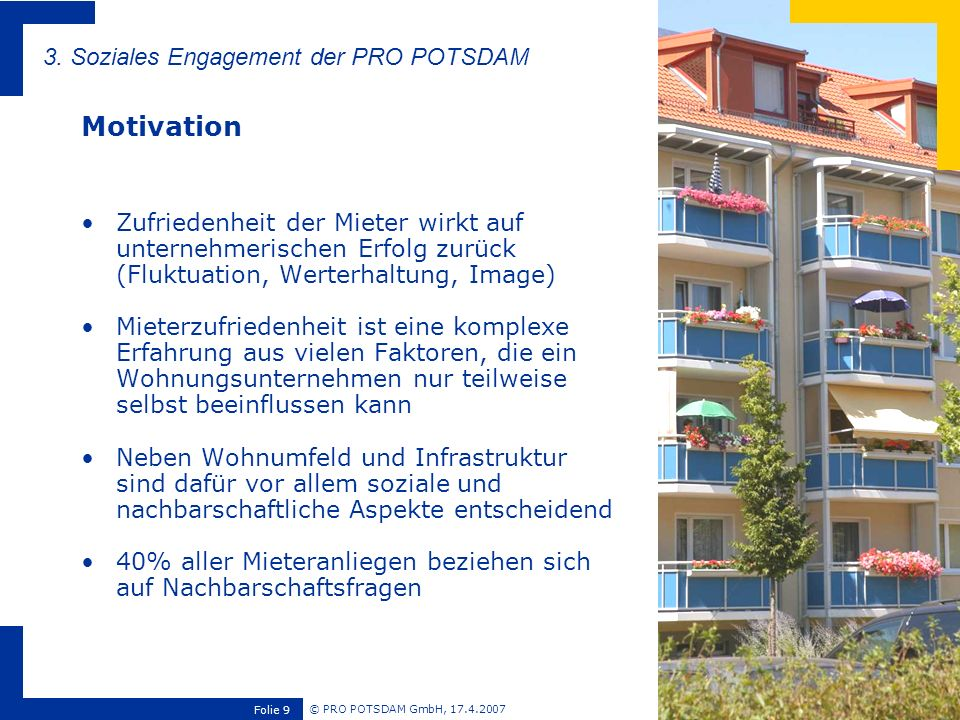Motivation 3. Soziales Engagement der PRO POTSDAM