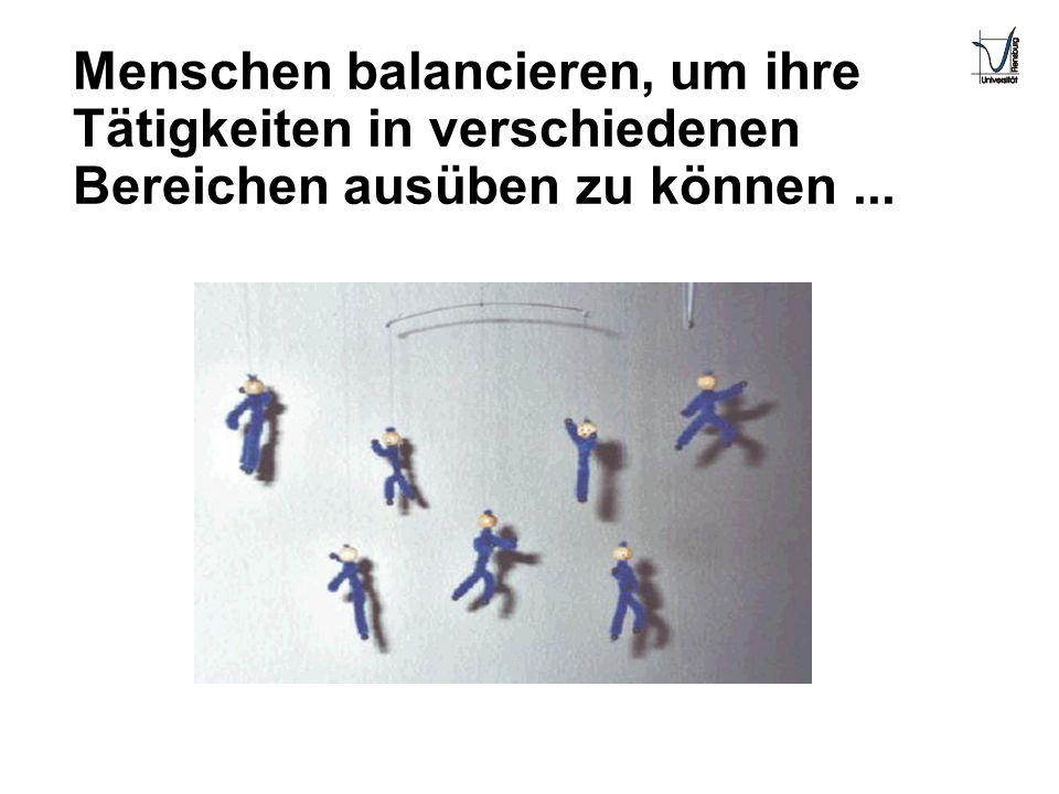Menschen balancieren, um ihre Tätigkeiten in verschiedenen Bereichen ausüben zu können ...