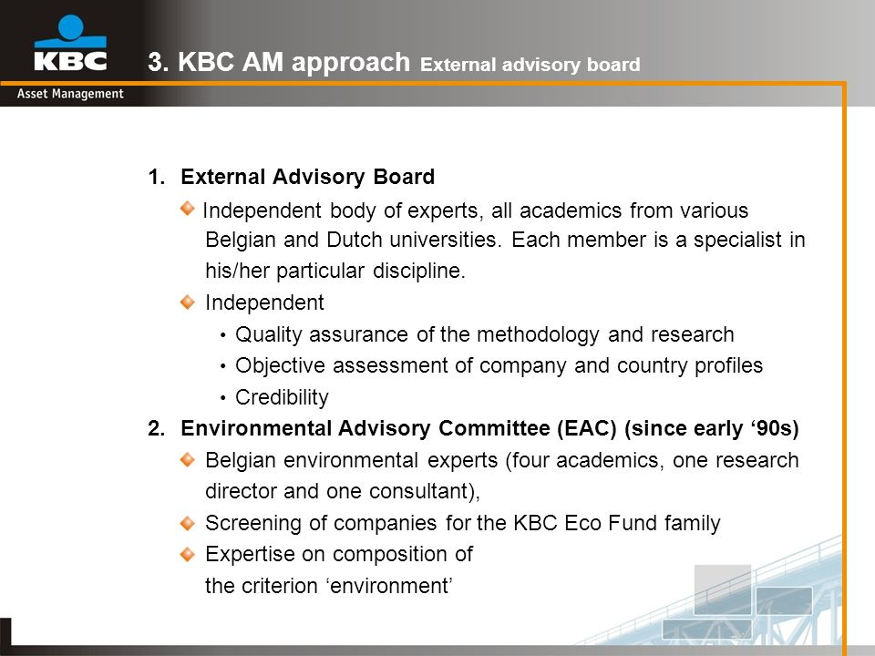 3. KBC AM approach External advisory board