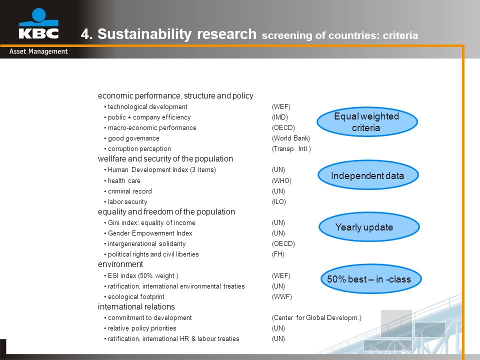 4. Sustainability research screening of countries: criteria