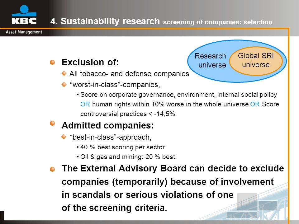 4. Sustainability research screening of companies: selection